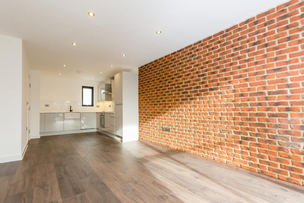 A brick slip feature wall using rustic brick slips