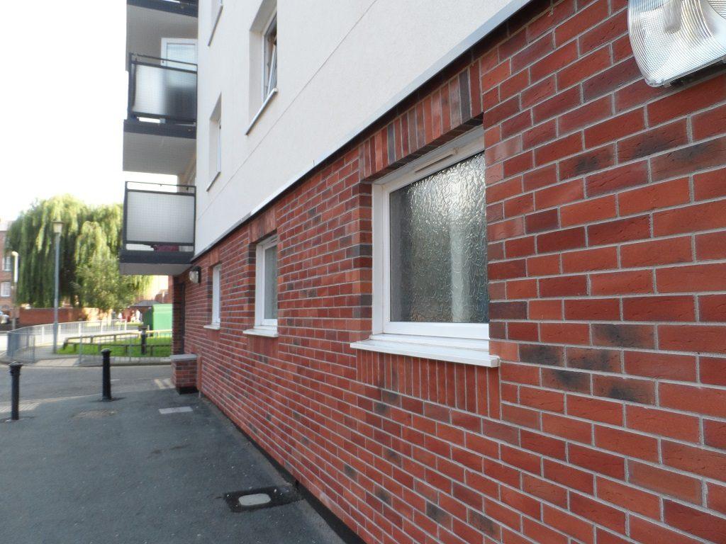 Ground floor brick slip external wall insulation installation
