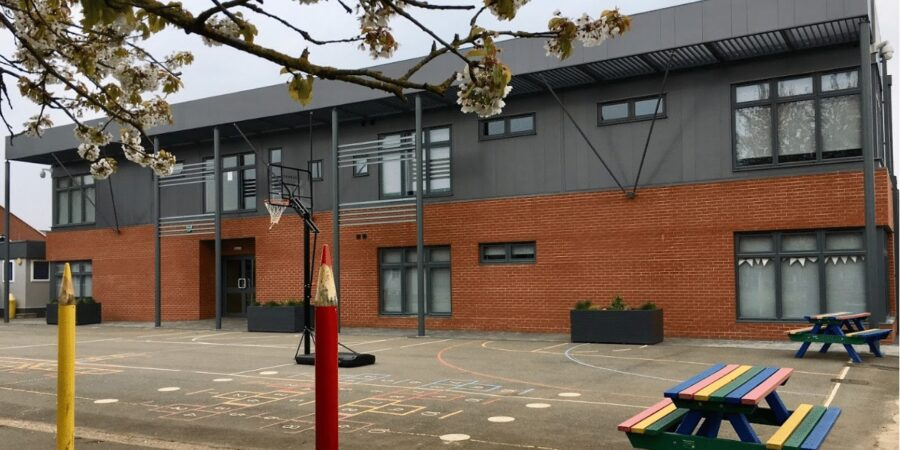 Newbury red brick slips installed at Ambergate Sports College