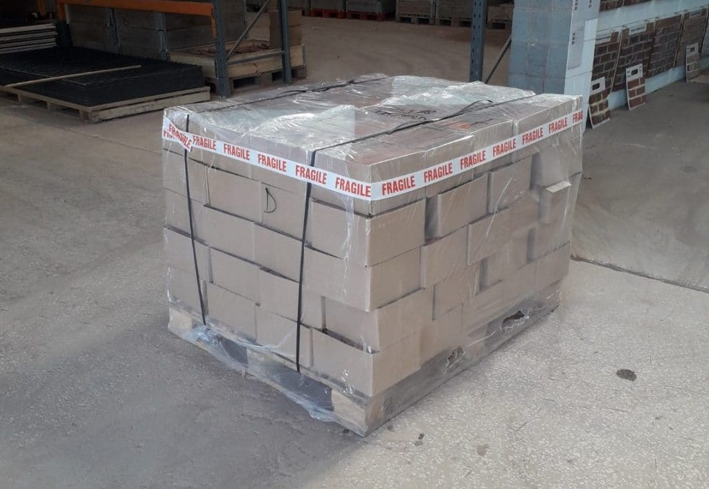 A 1000KG pallet of brick slips as would be shipped to customers