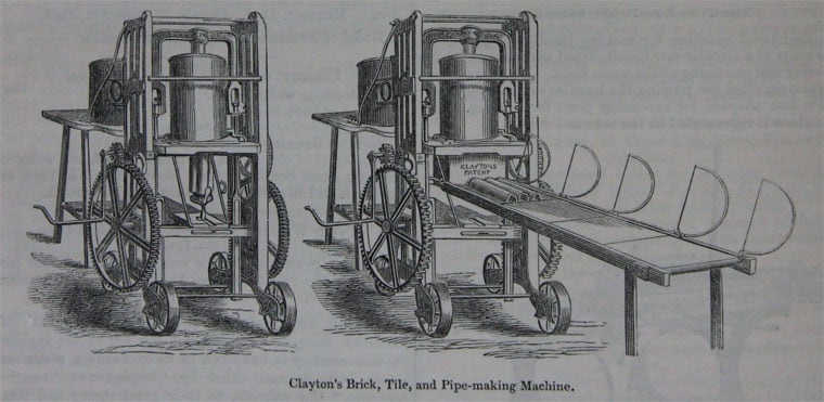 Hand cranked clay press from 1851