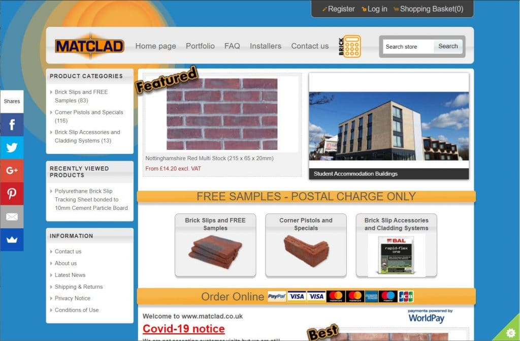 Matclad Limiteds old website before the new secure, mobile friendly site